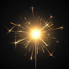 Bengal Fire. Burning Shiny Sparkler Firework. Realistic Light Effect. Party Decor Element. Vector Illustration Isolated On Transparent Background