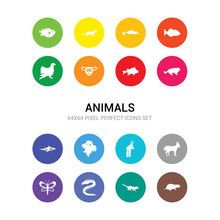 16 Animals Vector Icons Set In...