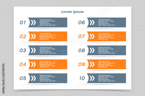 Obraz Infographic table or web banner design with numbered steps - fototapety do salonu