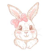 Cute Cartoon Hand Drawn Bunny. Print For T-shirt