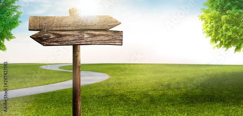 Wegweiser in Landschaft mit Straße Fototapete