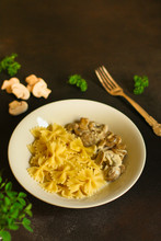 Pasta Farfalle With Mushrooms And Cream Sauce (traditional). Food Background. Top