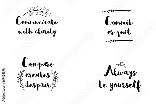 Commit or quit, Communicate with clarity, Always be yourself, Compare creates despair Canvas Print