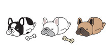 Dog Vector French Bulldog Icon Sleeping Bone Cartoon Character Puppy Logo Doodle Illustration