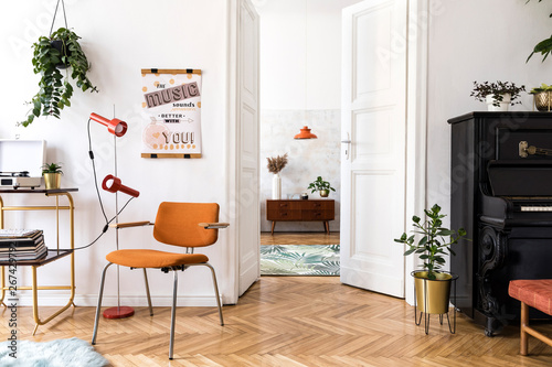 Stylish compositon of retro home interior with mock up ...