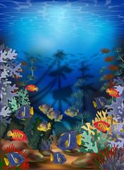 Obraz na płótnie Canvas Underwater card with algae, tropical fish and sunken ship, vector illustration