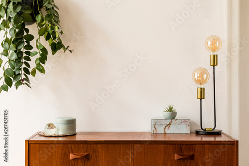 Stylish and design space of home interior with vintage cupboard, marble elegant accessories, hanging plant and gold table lamp. Cozy home decor. Minimalistic concept. Copy space. Real photo, Template.