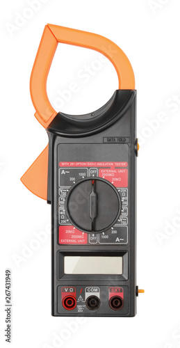 Photo Digital current clamp multimeter isolated on white