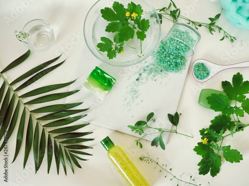 Fotografie, Obraz  Sea salt, soap, water, healing herbs on the table, green ingredients for scrub,