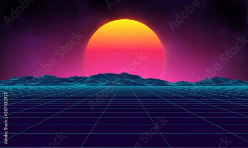 Fototapeta Retro background futuristic landscape 1980s style. Digital retro landscape cyber surface. Retro music album cover template sun, space, mountains . 80s Retro Sci-Fi Background Summer Landscape. obraz na płótnie