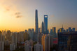 Aerial view of skyscraper and high-rise office buildings in Shanghai Downtown, China. Financial district and business centers in smart city in Asia.