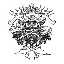 A Vector Illustration Of A Skull Wearing A Viking Helmet