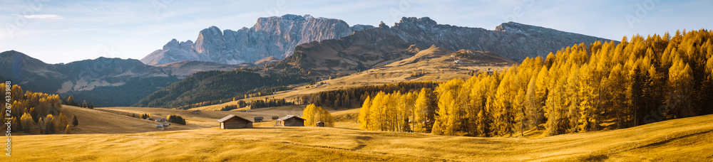 Fototapety, obrazy: Alpe di Siusi at sunrise, Dolomites, South Tyrol, Italy