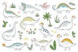 Fototapeta Dino - Trendy doodle dinosaurs. Cute outline dino babies set, funny cartoon dragons and Jurassic dinosaurs. Vector prehistoric lizards illustration
