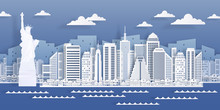 New York Paper Landmark. USA City Skyline View, Modern Cityscape In Origami Style. Vector White Paper Cut Business Skyscraper Buildings