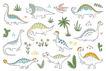 Trendy doodle dinosaurs. Cute outline dino babies set, funny cartoon dragons and Jurassic dinosaurs. Vector prehistoric lizards illustration
