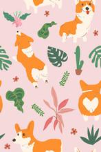 Corgi Dog And Tropical Leaf Elements, Vector Seamless Pattern