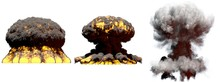 3D Illustration Of Explosion - 3 Huge Different Phases Fire Mushroom Cloud Explosion Of Nuke Bomb With Smoke And Flame Isolated On White