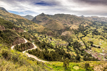 Aerial View At Sacred Valley Of Incas As Seen From The Hill At Pisaq Near Cusco In Peru.