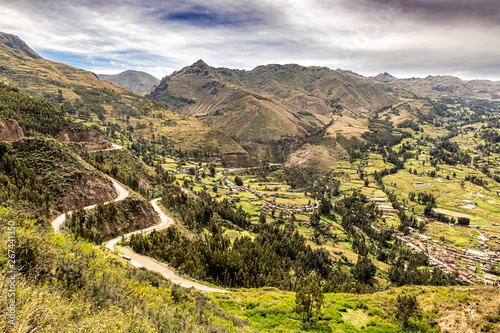 Fotografie, Obraz Aerial view at Sacred Valley of Incas as seen from the hill at Pisaq near Cusco in Peru