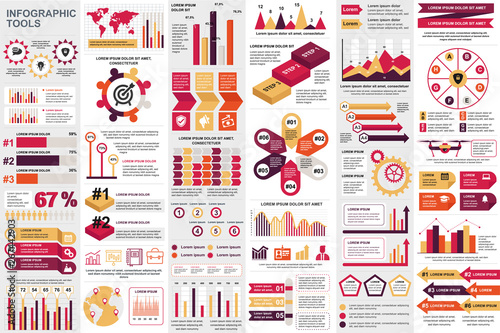 Infographic elements data visualization vector design template Canvas Print