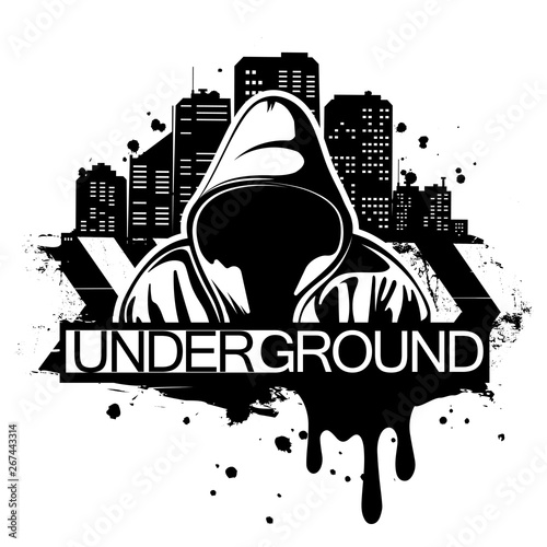 Urban style illustration of man in hoodie behind city silhouette Canvas Print