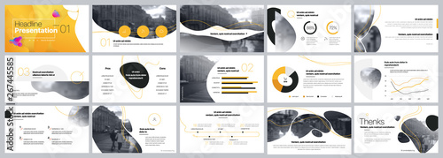 Fototapeta Presentation template. Yellow Elements for slide presentations on a white background. Use also as a flyer, brochure, corporate report, marketing, advertising, annual report, banner. Vector obraz
