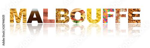 Fotografie, Obraz  mot malbouffe isolé sur fond blanc avec des aliments mauvais pour la santé à l'i