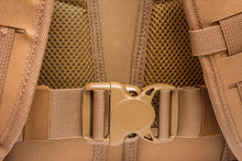 Element Of Tactical Military Backpack - Plastic Buckle, Color Of Coyote.  Plastic Buckle For Tape. Fastex