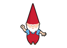 Angry Garden Gnome Vector. Dwa...