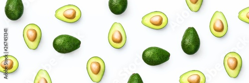 Avocado food concept on white background. From top view. Banner - 267451341