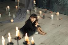 Sad Little Girl In Black Balet Dress