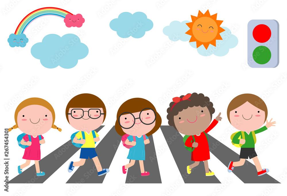 Fototapeta kids across the road, Students walk across the crosswalk with a traffic light, back to school Vector Illustration