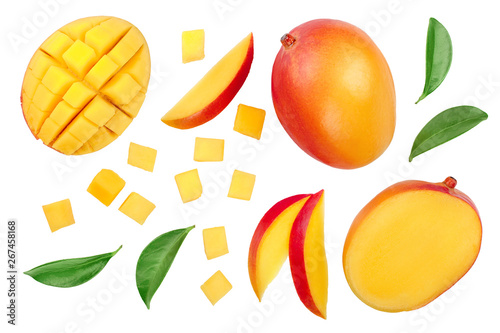 Fotografia, Obraz Mango fruit half with slices isolated on white background