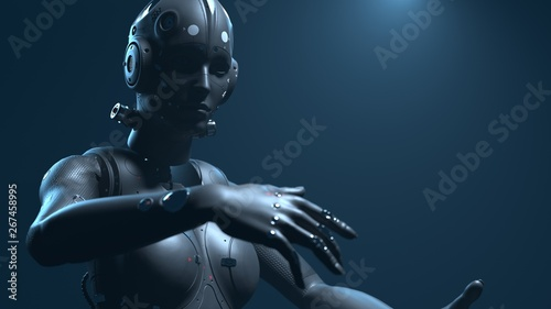 Photo  robot woman, sci-fi woman  digital world of the future of neural networks and th