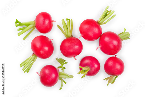 Fotobehang Keuken fresh whole radish isolated on white background. Top view