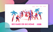 People Playing Beach Volleyball on Seaside. Sports Activity in Exotic Tropical Place on Summertime Vacation Leisure, Recreation Website Landing Page, Web Page. Cartoon Flat Vector Illustration, Banner