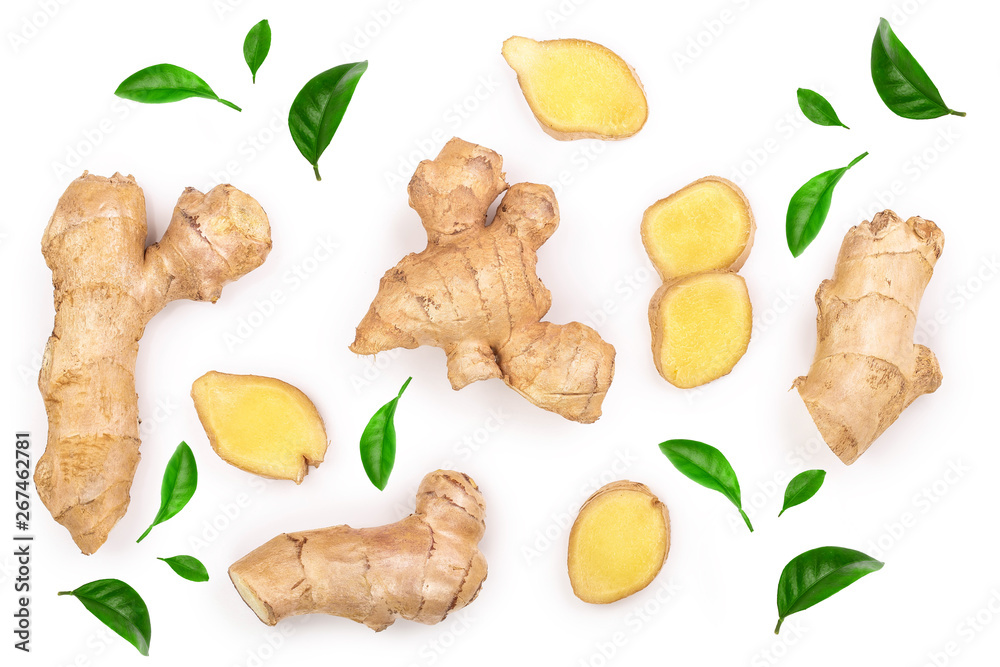 Fototapeta fresh Ginger root and slice isolated on white background. Top view. Flat lay