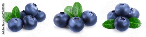 Valokuva fresh blueberry with leaves isolated on white background closeup