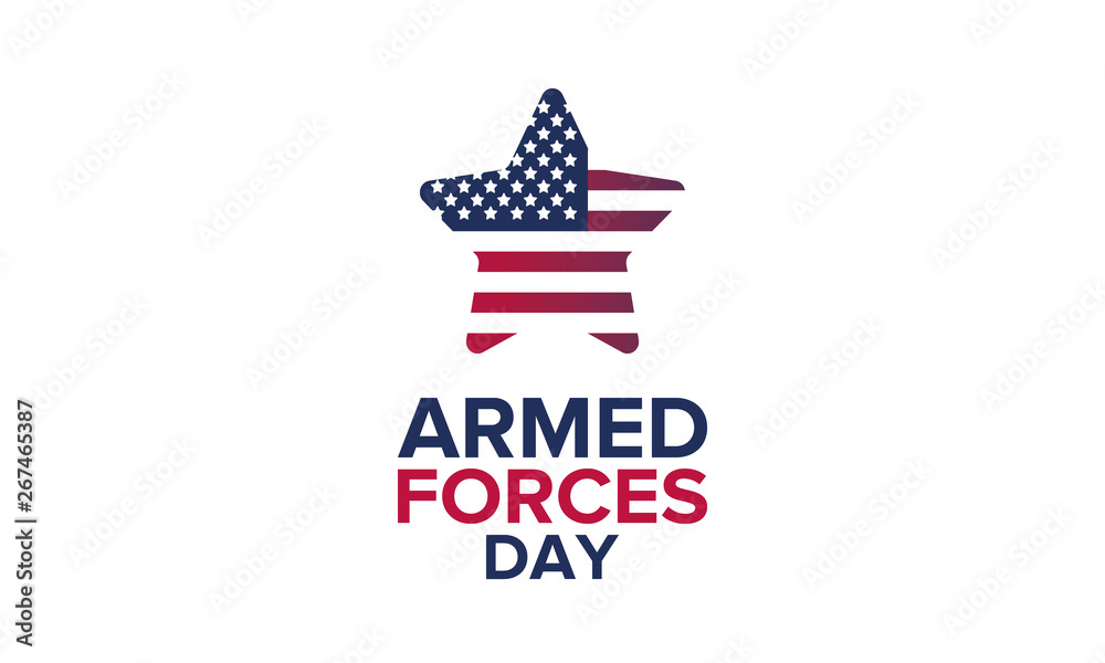 Fototapeta Armed Forces Day in May. Holiday celebrated annual in United States. Special tribute to the men and women of the Armed Forces. Poster, card, banner and background. Vector illustration