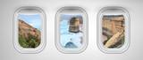 Twelve Apostles coastline as seen through three aircraft windows. Holiday and travel concept - 267466547