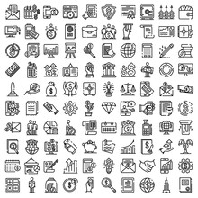 Accountant Icons Set. Outline Set Of Accountant Vector Icons For Web Design Isolated On White Background