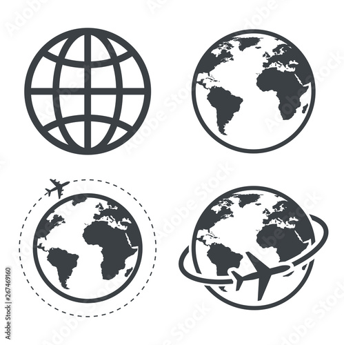 Earth icon collection. Globe. Vector Fototapete