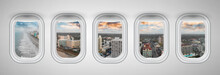 Myrtle Beach At Sunset As Seen Through Five Aircraft Windows. Holiday And Travel Concept