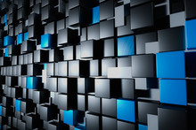 Abstract Wall Of White, Black And Blue Glossy Cuboids Or Cubes. Conceptual Baclground Or Wallpaper. 3d Render Illustration.