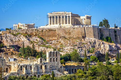 Acropolis hill with Parthenon temple, Athens, Greece