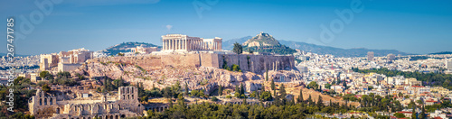 Photo sur Toile Athenes Panorama of Athens with the Acropolis hill, Greece