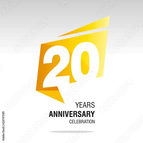 Cuadros en Lienzo 20 Years Anniversary origami speech logo icon yellow white vector