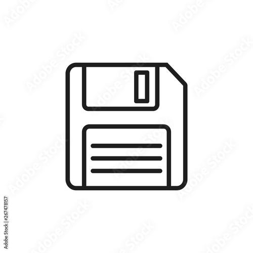 Cuadros en Lienzo Floppy disk line style icon. Vector illustration.