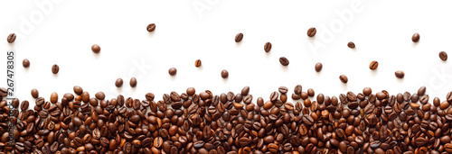 Photo sur Toile Café en grains Panoramic coffee beans border isolated on white background with copy space
